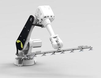 Robotic arm that picks up pot plants, moves or widens them