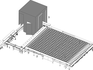500 Plant Automated Conveyor System with Multi-Purpose Imaging Cabin: 1- This section of the conveyor is counter-balanced and simply lifts up, manually, for easy walk-though access to the imaging area and watering module. 2- Plant growth and conveyance area. 3- Imaging station. 4- Watering and weigh station.