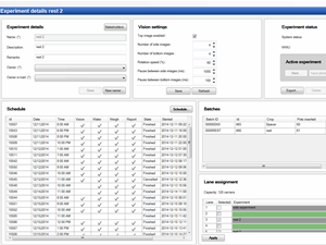 System operating software: Provides an overview of experimental status, settings and scheduled tasks.